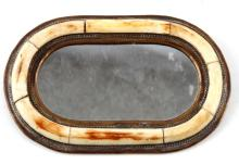 ANTIQUE PRE BAN SMALL IVORY BORDERED MIRROR