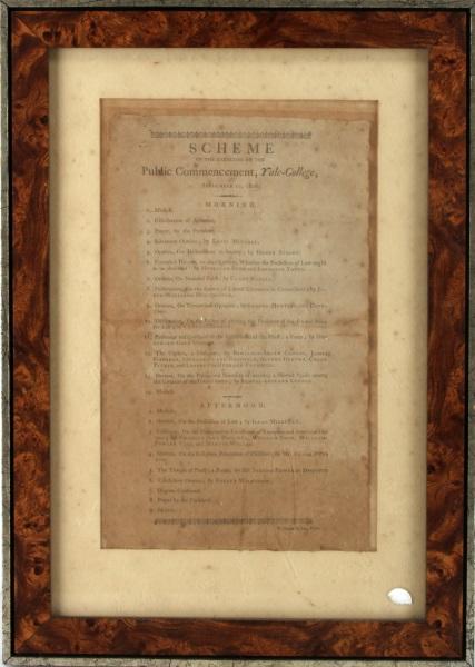ANTIQUE COMMENCEMENT SCHEME YALE COLLEGE 1806