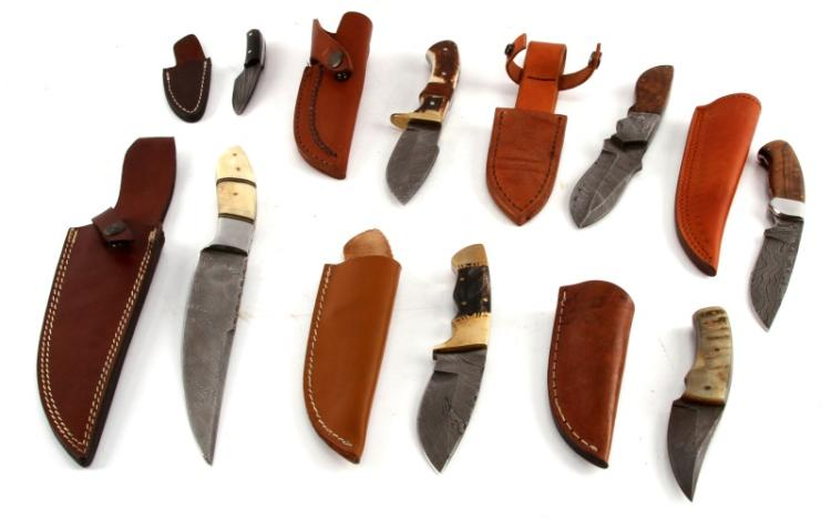 LOT OF 7 CUSTOM DAMASCUS STEEL BLADE KNIVES