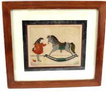 ALICE PAULINE SCHAFER WATERCOLOR ROCKING HORSE
