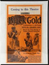 ANTIQUE NORMAN STUDIOS BLACK GOLD WINDOW CARD