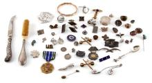MIXED MILITARY MEDAL CUFF LINK STERING SILVER LOT
