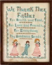 HOUSEHOLD FRAMED NEEDLEPOINT 'WE THANK THE FATHER'