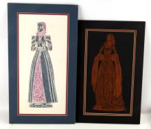 LOT OF 2 BRITISH UK BRASS RUBBINGS ANNE BOLEYN