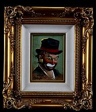 ORIGINAL OBERSTEIN CLOWN PAINTING 12.5 BY 14.5