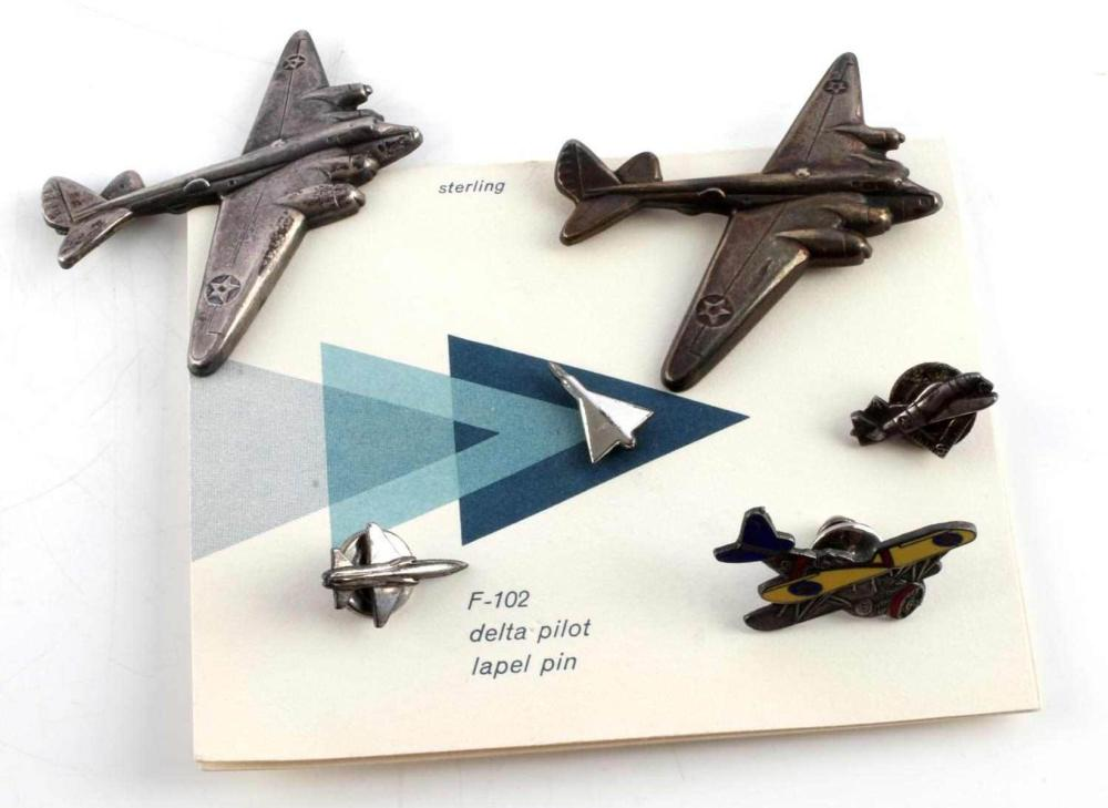 6 STERLING SILVER B-29 F102 BI PLANE PIN BADGES