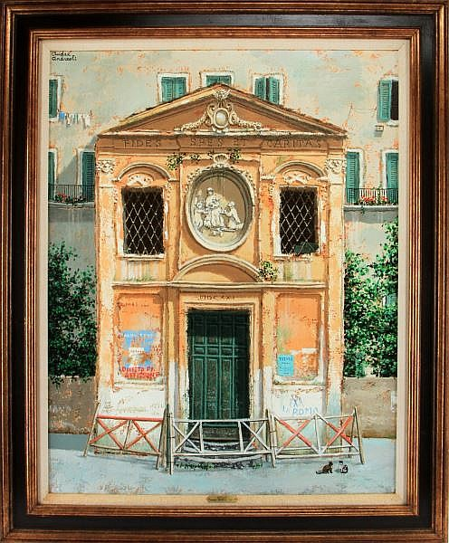 ANDRE ANDREOLI OIL ON CANVAS VIA TEVERE ITALIAN