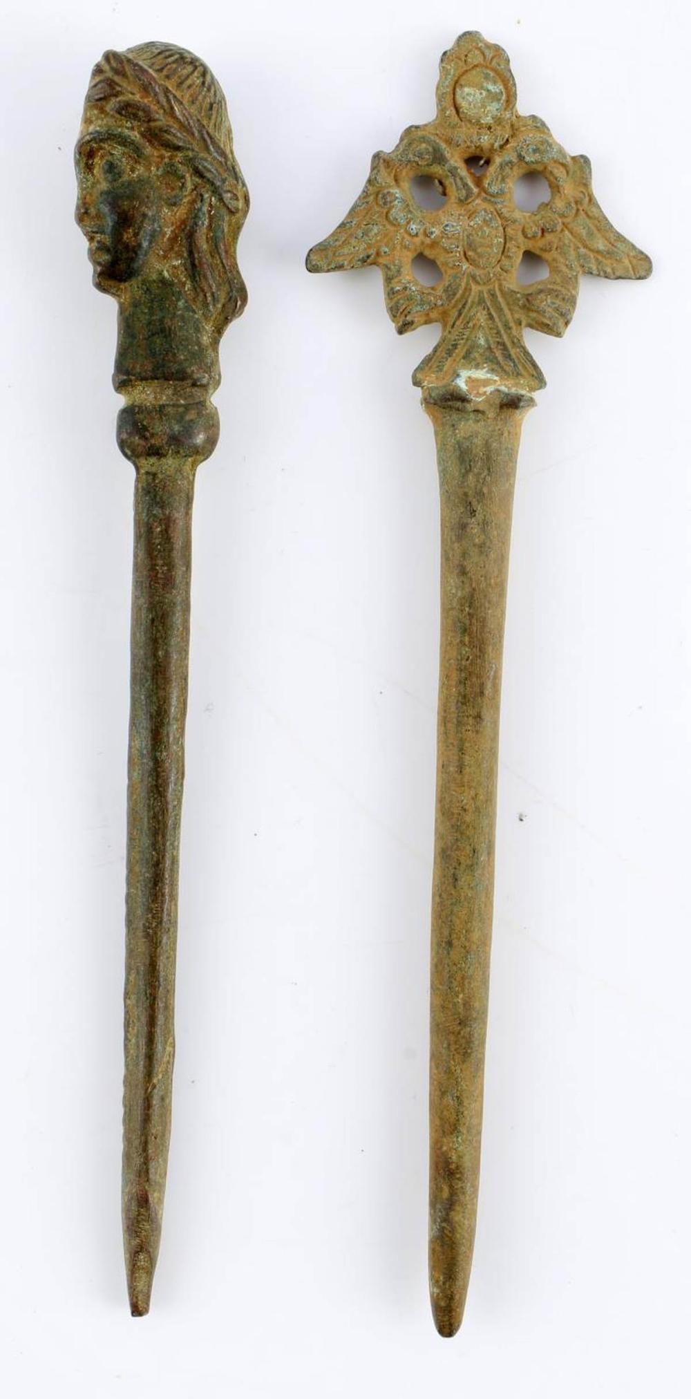 2 ANCIENT ROMAN BRONZE HAIR PINS OR STYLUS