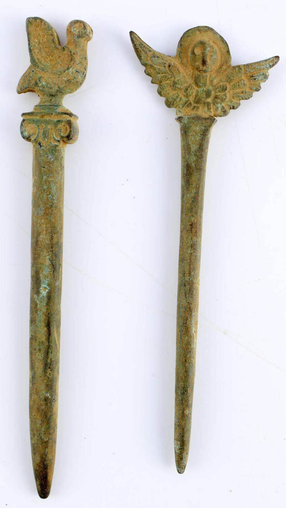 2 ANCIENT ROMAN BRONZE HAIR PIN OR STYLUS