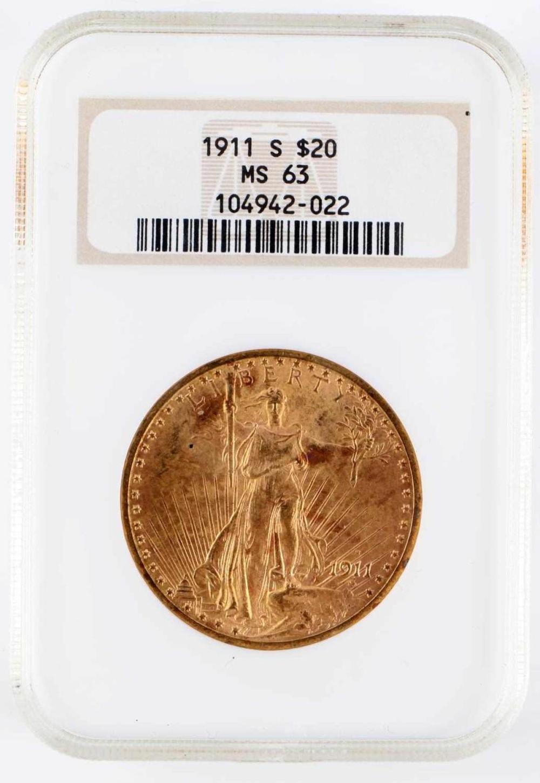 1911 ST GAUDENS $20 DOUBLE EAGLE GOLD NCG MS63