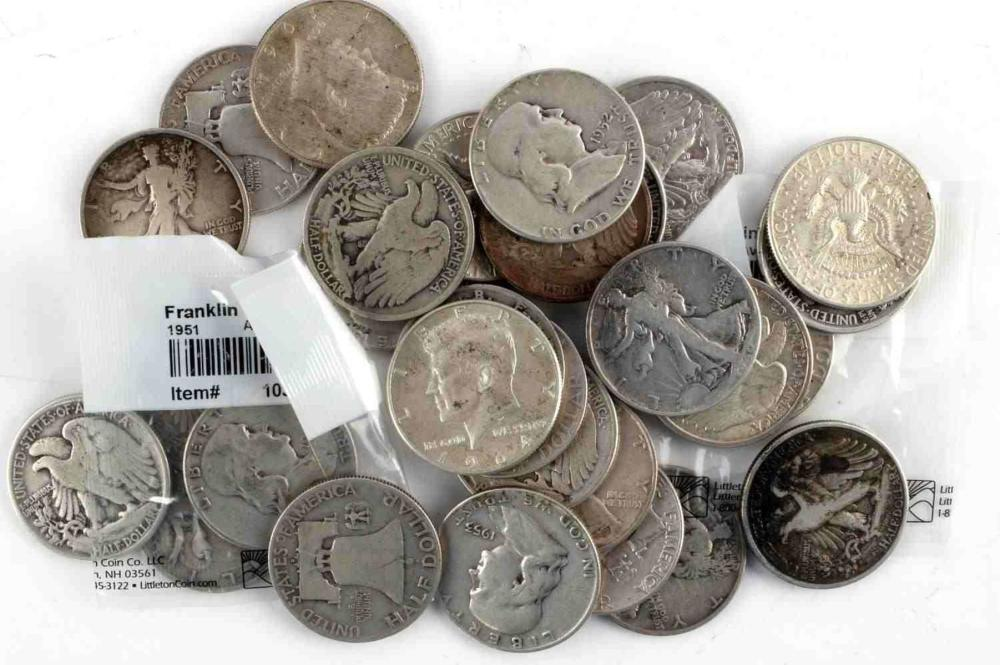 $15 FACE 90% SILVER US COIN LOT OF HALF DOLLARS