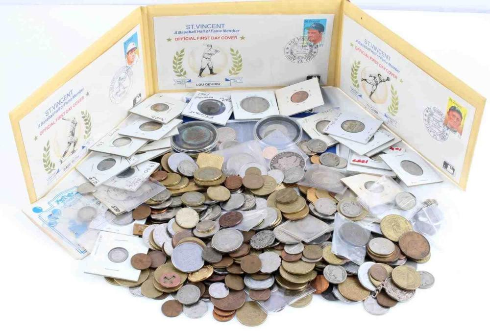 OVER 6 POUNDS OF WORLD US COINS TOKENS NUMISMATICS