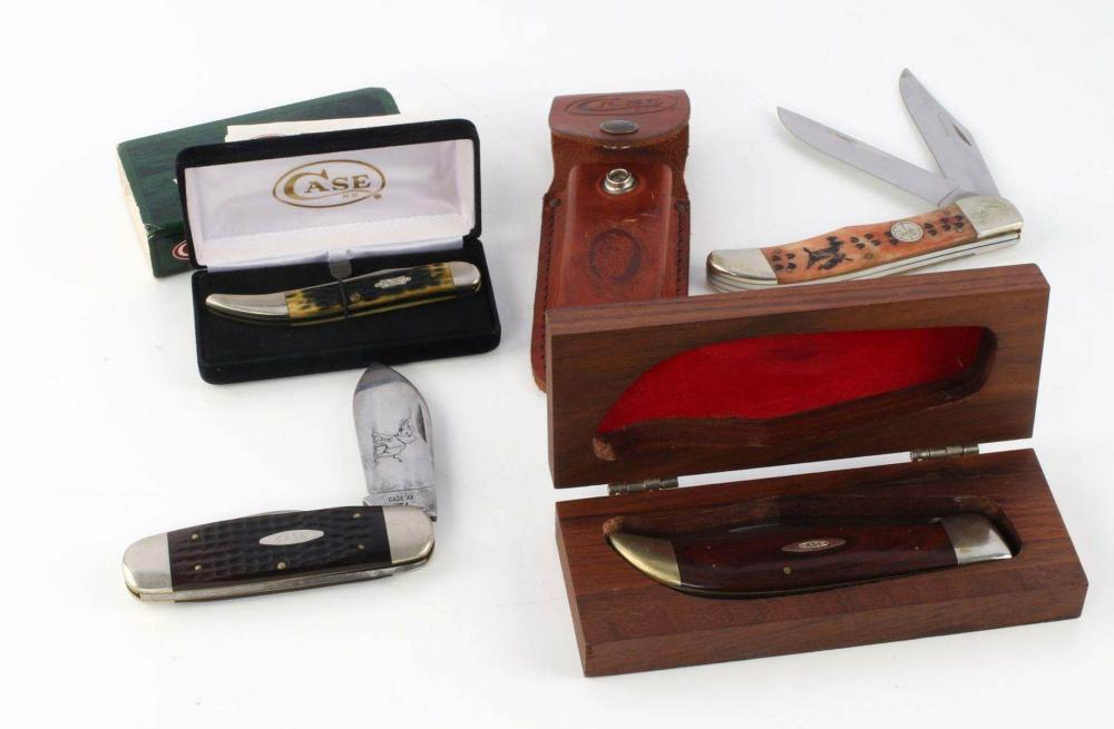 LOT OF 4 CASE KNIVES KNIFE WITH CASE XX BUFFALO