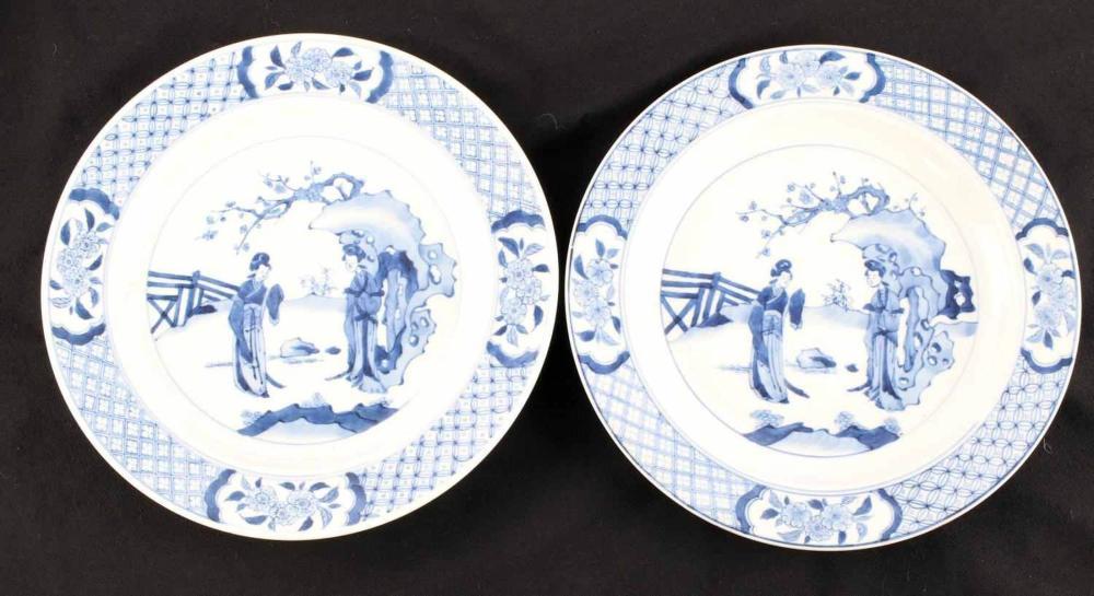 2 KANGXI PERIOD BLUE AND WHITE PORCELAIN PLATES