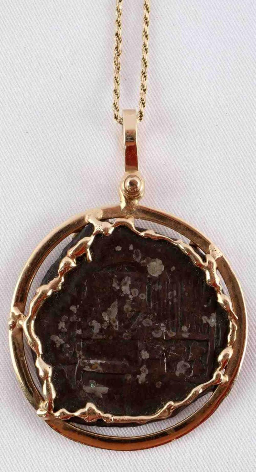 SHIPWRECK 4 REALE COIN AND 14KT PENDANT W NECKLACE