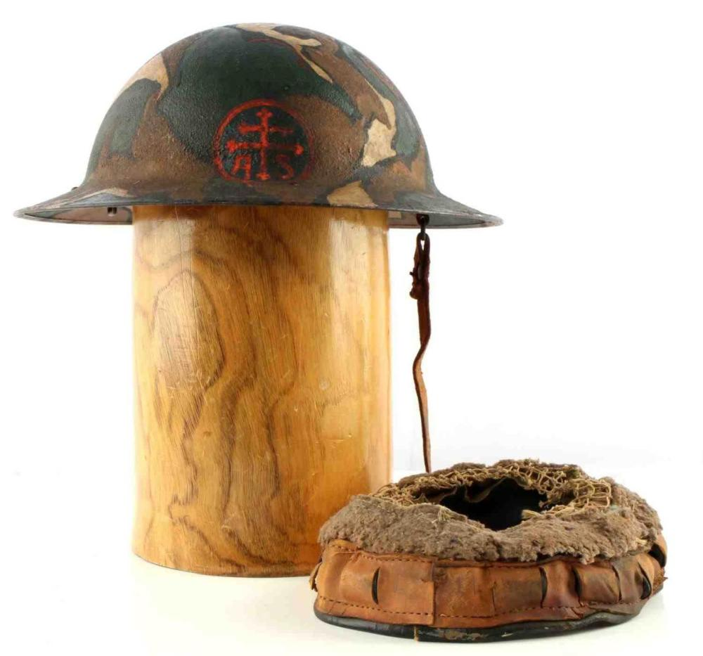 WWI 79TH DIVISION CAMO PAINTED NAMED BRODIE HELMET