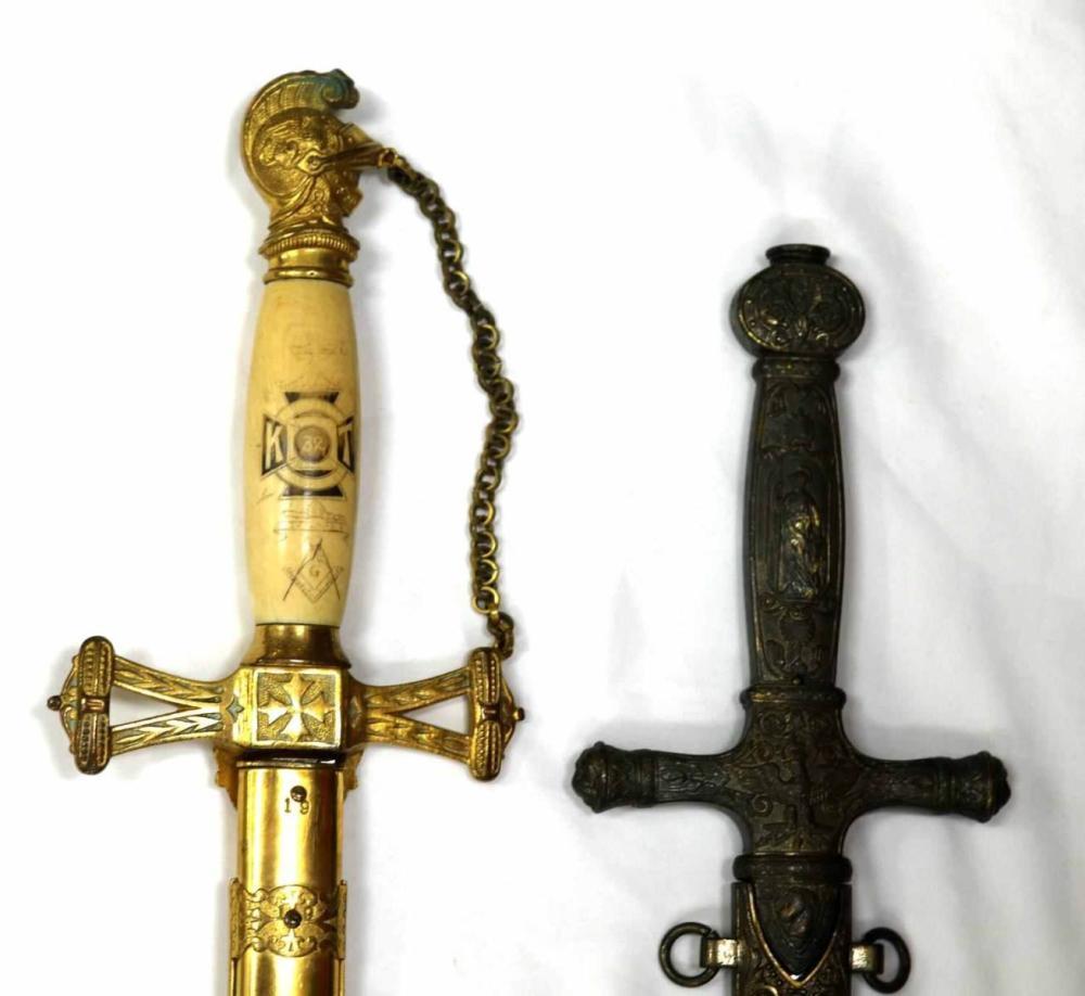 ANTIQUE MASONIC SWORD IVORY GRIP & UNKNOWN SWORD