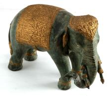 GREEN PATINAED BRASS ASIAN ELEPHANT STATUE INDIA