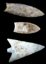NATIVE AMERICAN CARVED CHERT ARROWHEAD LOT OF 3