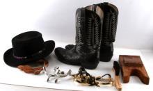 WESTERN HANDMADE OSTRICH BOOTS & SPURS & HAT LOT