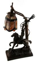FREDERIC REMINGTON BRONZE W STAINGLASS LAMP