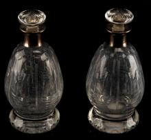 1951 SET CRYSTAL DECANTER W STERLING SILVER MOUNT