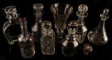 VINTAGE ANTIQUE CRYSTAL & GLASS DECANTER LOT