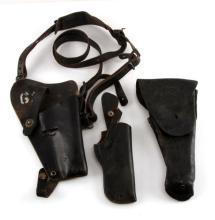 VINTAGE BLACK LEATHER GUN PISTOL HOLSTER LOT