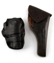 LOT OF 2 VINTAGE TO ANTIQUE LEATHER HOLSTERS
