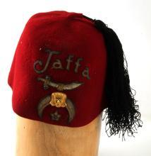 ANTIQUE SHRINER'S RED FEZ JAFFA CAP BLACK TASSLE