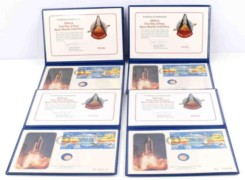 5 COMMEMORATIVE GOLD SPACE SHUTTLE COIN BOOKS