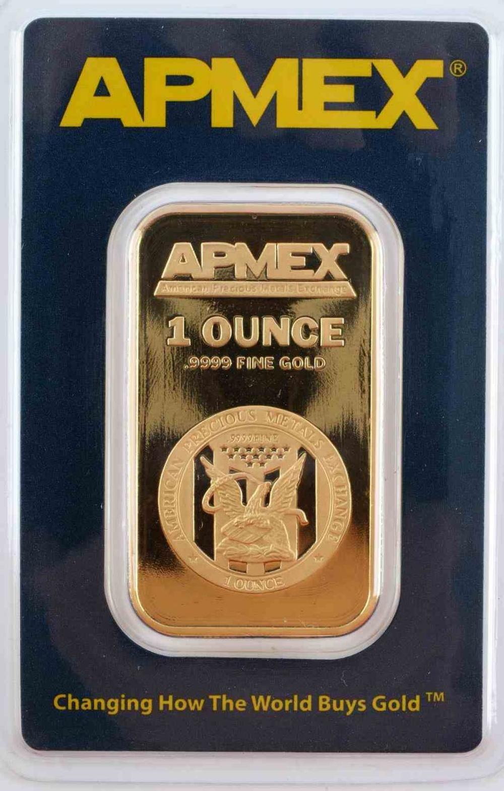 APMEX 1 OUNCE 999 FINE GOLD BAR