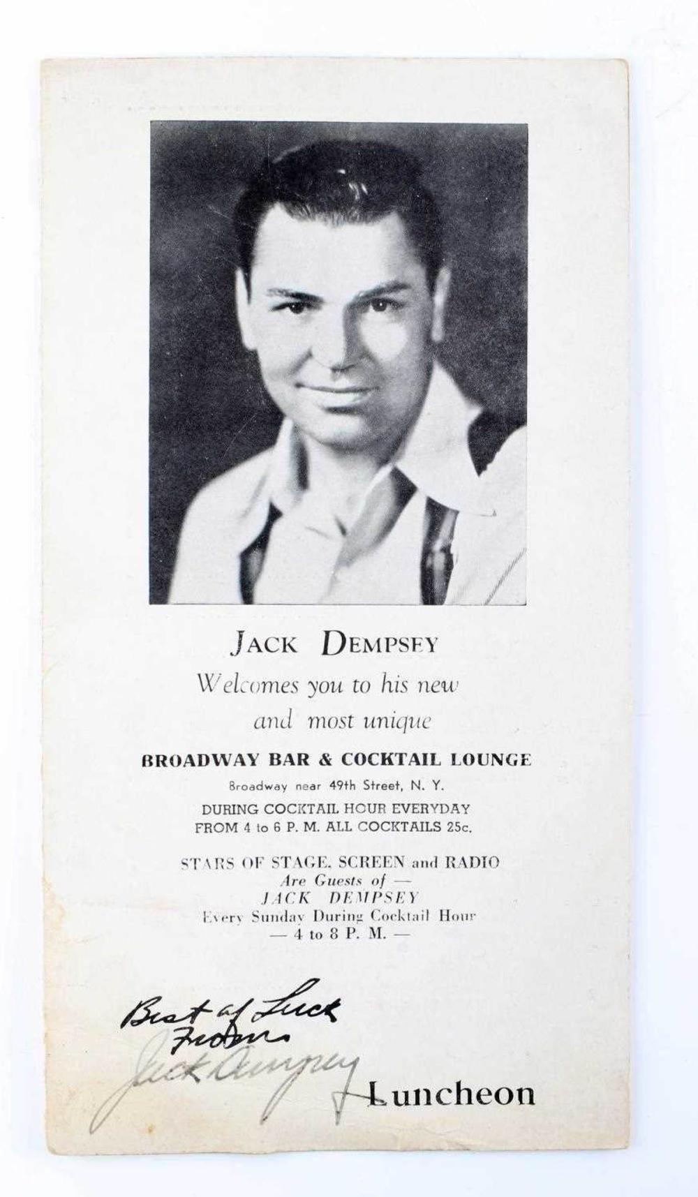 JACK DEMPSEY AUTOGRAPHED 1939 BROADWAY MENU