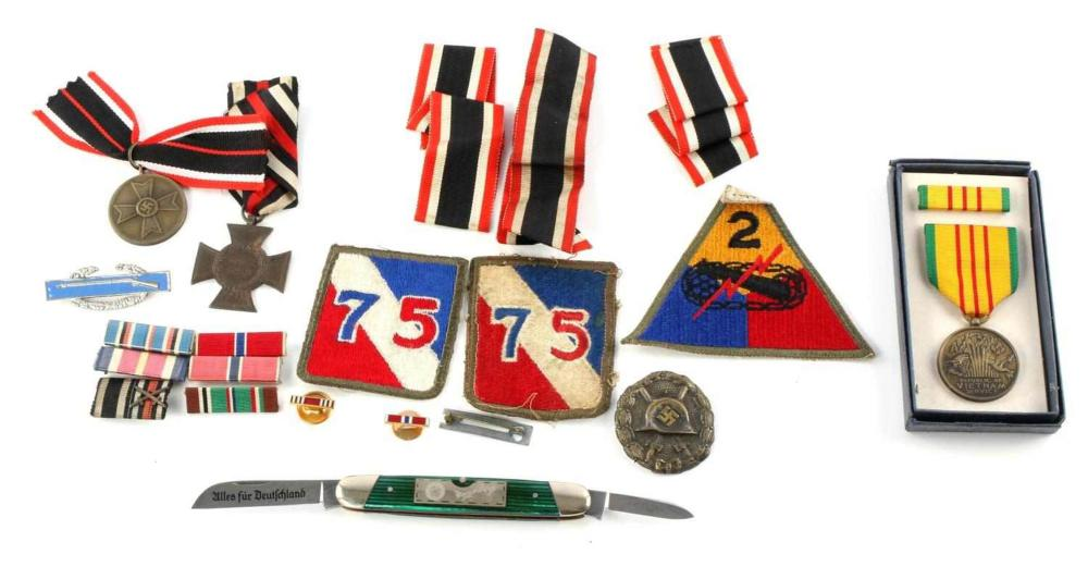 SMALL LOT OF WWII GERMAN AMERICAN MEDALS PATCHES
