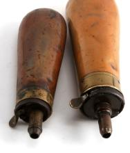 ANTIQUE POWDER FLASK LOT OF 2 J. BARLOW PATENT