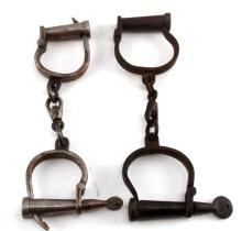 2 PAIR OF ANTIQUE SHACKLES HAND CUFFS WITH KEY