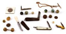 CIVIL WAR VICTORIAN KNIFE BUTTON MARBLE TOKEN LOT