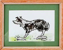 SIR JOHN KYFFIN WILLIAMS SHEEP DOG WATERCOLOUR
