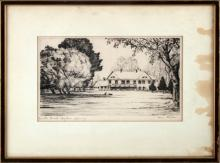 1930 BRINTON RANCH WYOMING ETCHING BY KLEIBER