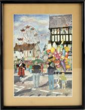 GEOFF ACKROYD SIGNED LITHOGRAPH NEWENT FAIR
