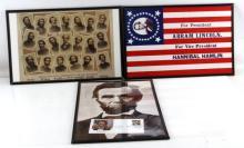 3 FRAMED CIVIL WAR THEMED PRINT REPRO LOT LINCOLN