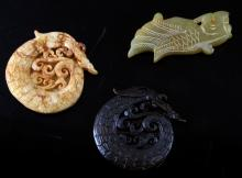HAND CARVED ASIAN STONE PENDANT & MEDALLIONS LOT