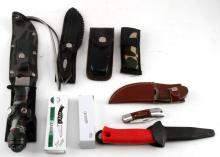 LOT OF 9 KNIFE LOT SOME POCKET SOME W HOLSTERS