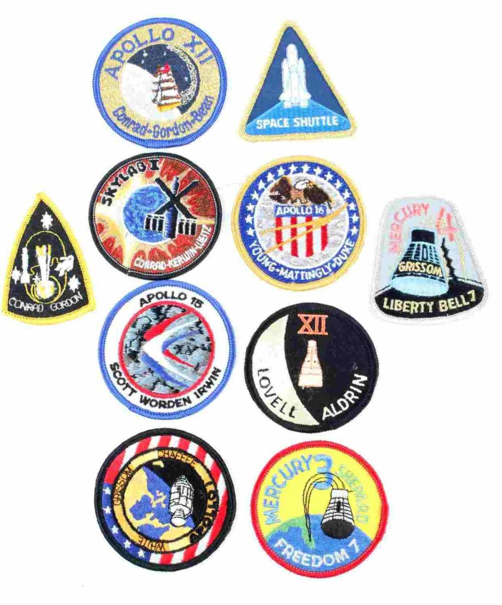 LOT OF 10 NASA ASTRONAUT SPACE SUIT PATCHES