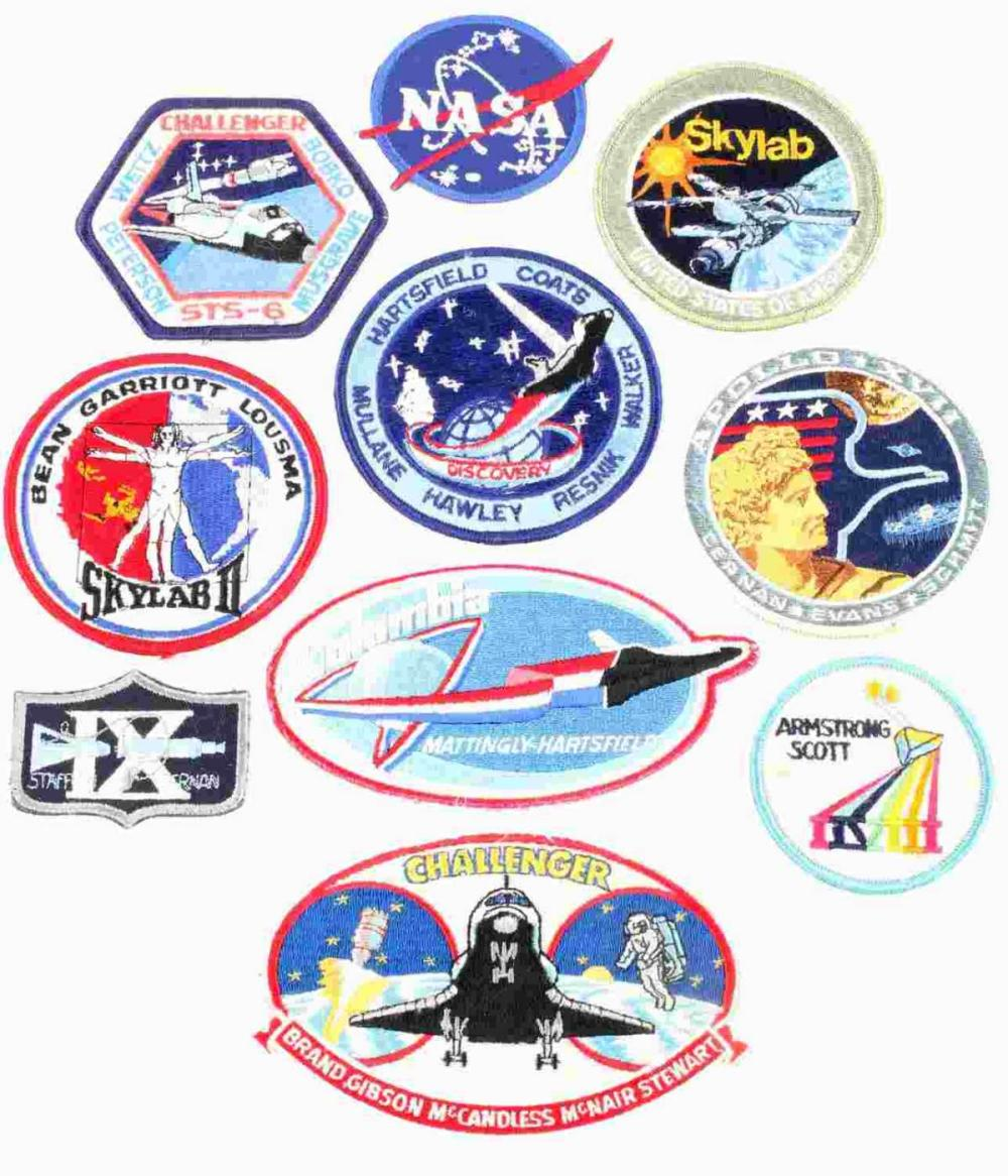 LOT OF 10 NASA ASTRONAUT SPACE MISSION PATCHES