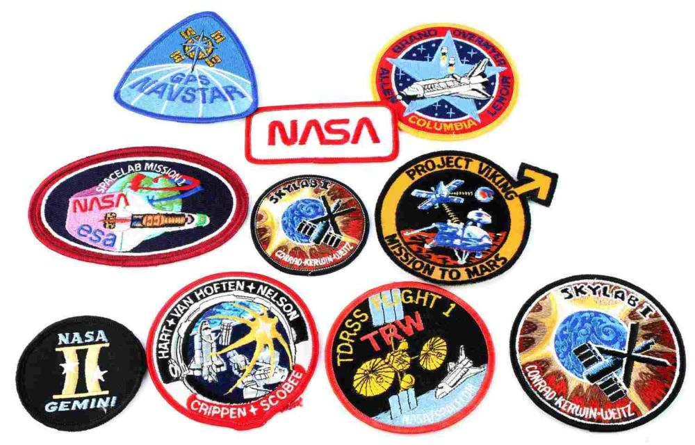 LOT OF 10 NASA SPACE SUIT ROCKET MISSION PATCHES
