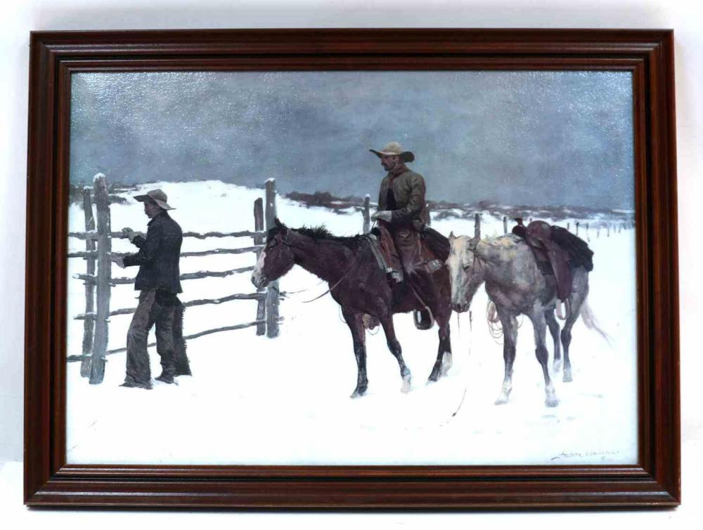 REMINGTON LITHOGRAPH FALL OF THE COWBOY FRAMED