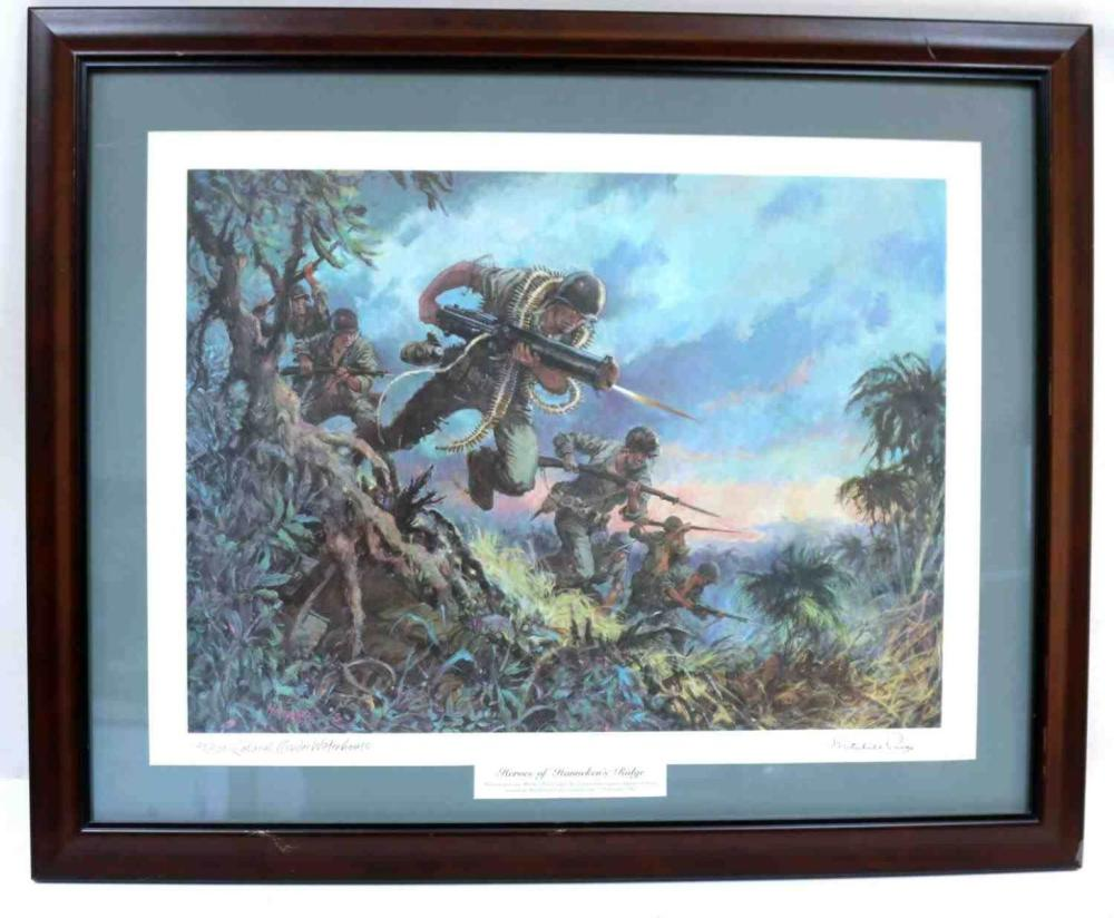 SIGNED LITHOGRAPH HEROES OF HANNEKENS RIDGE