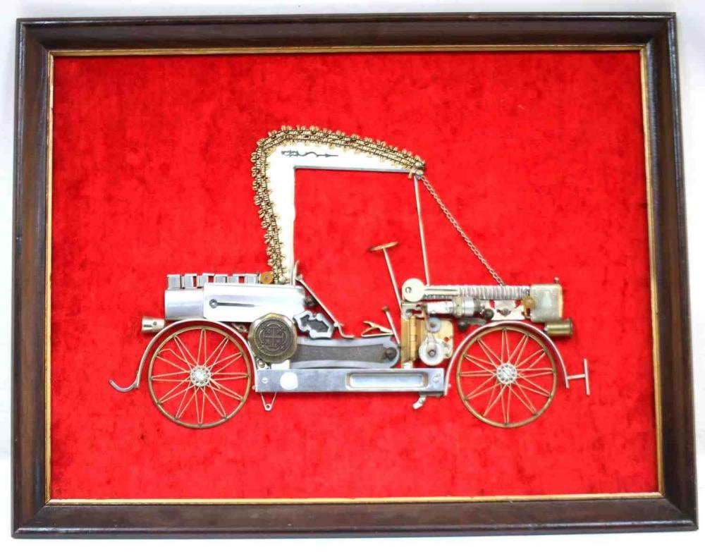 METAL FOUND OBJECT BUGGY CAR COLLAGE UNSIGNED