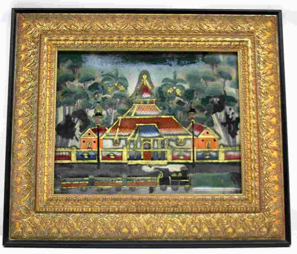 ANTIQUE REVERSE GLASS PAINTING OF TEMPLE AND TRAIN